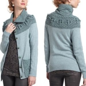 Anthropologie Sleeping on Snow cable pom sweater